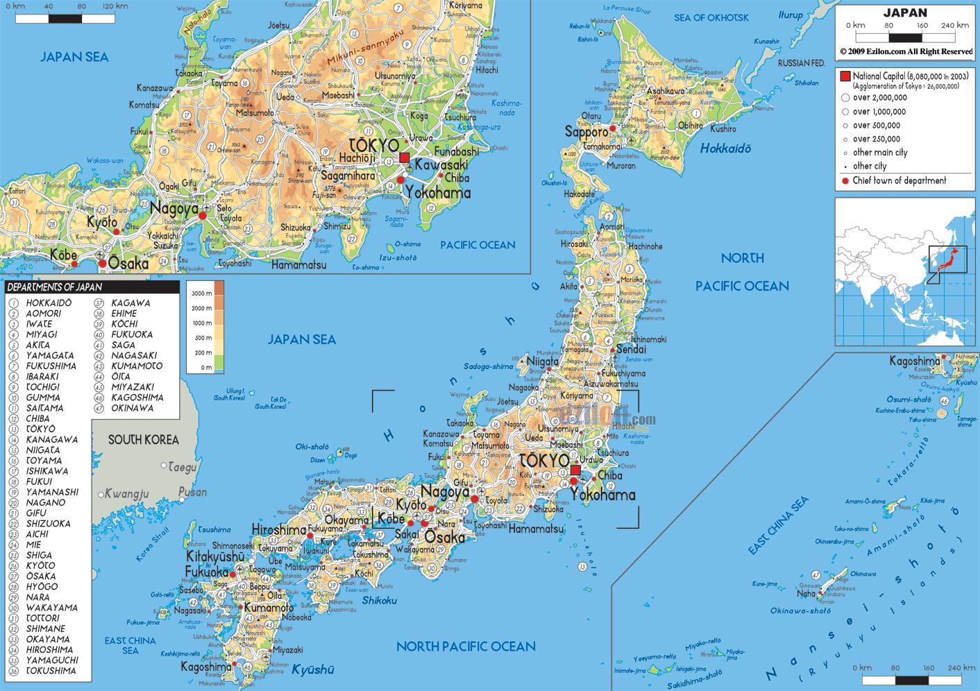 Japan Karte Physisch.Japan Physische Karte Physische Karte Von Japan Ost