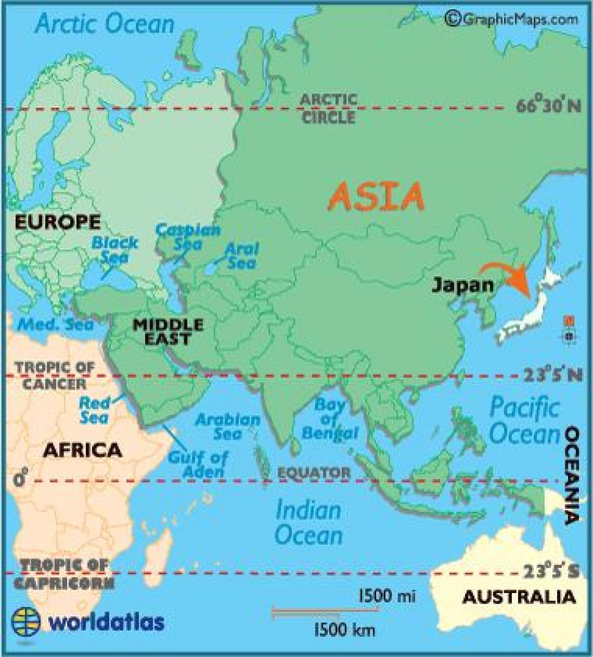 Japan in world map - Karte der Welt japan (Ost - Asien, Asien)