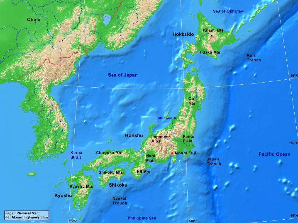 Japan Karte Physisch.Physische Karte Des Japan Physische Karte Von Japan Ost